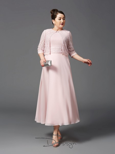 A-Line/Princess Sleeveless Lace Ankle-Length Chiffon Jewel Mother of the Bride Dresses Plus Size