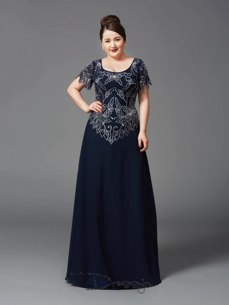 A-Line/Princess Short Sleeves Floor-Length Chiffon Square Mother of the Bride Plus Size Dresses