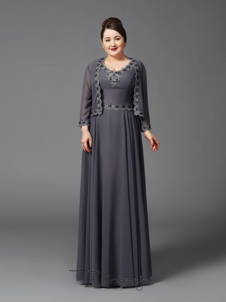 A-Line/Princess Sleeveless Lace Floor-Length Chiffon Straps Mother of the Bride Plus Size Dresses