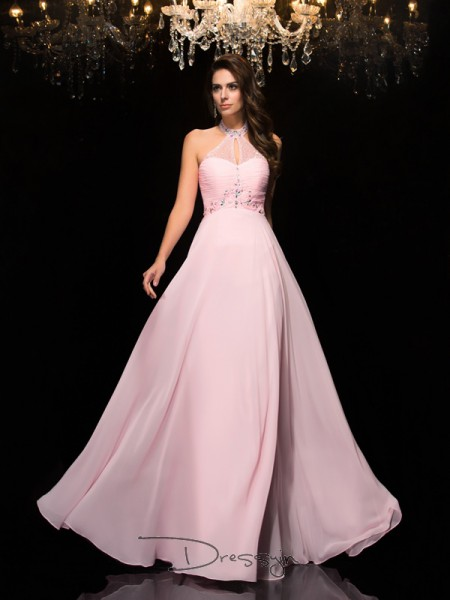 A-Line/Princess Sleeveless Beading Floor-Length Chiffon Halter Dresses