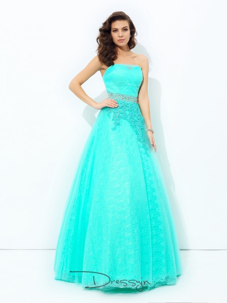 A-Line/Princess Sleeveless Beading Floor-Length Elastic Woven Satin Strapless Dresses