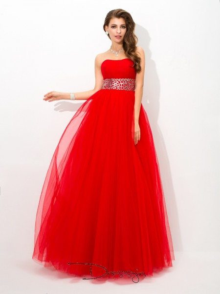 Ball Gown Sleeveless Beading Floor-Length Net Strapless Dresses