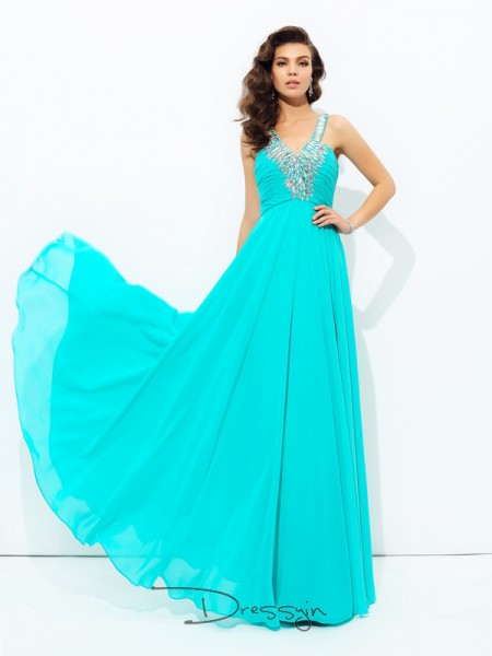 A-Line/Princess Sleeveless Paillette Floor-Length Chiffon V-neck Dresses