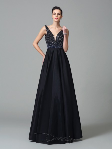 A-Line/Princess Sleeveless Beading Floor-Length Taffeta Straps Dresses