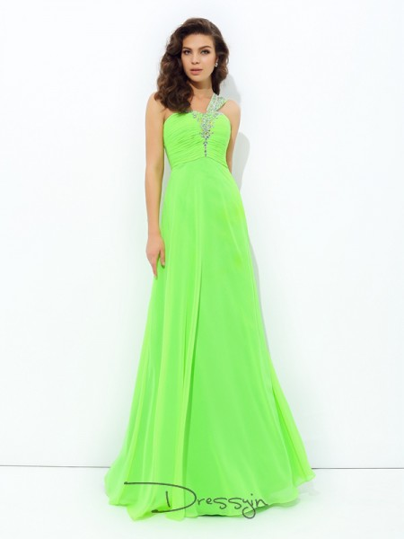 A-Line/Princess Sleeveless Rhinestone Floor-Length Chiffon One-Shoulder Dresses