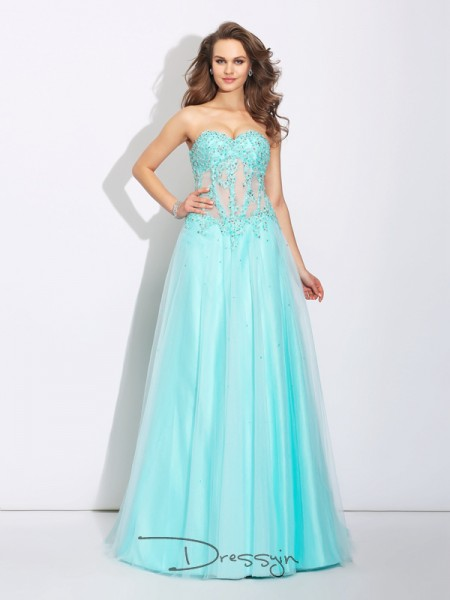 A-Line/Princess Sleeveless Lace Sweep/Brush Train Net Sweetheart Dresses