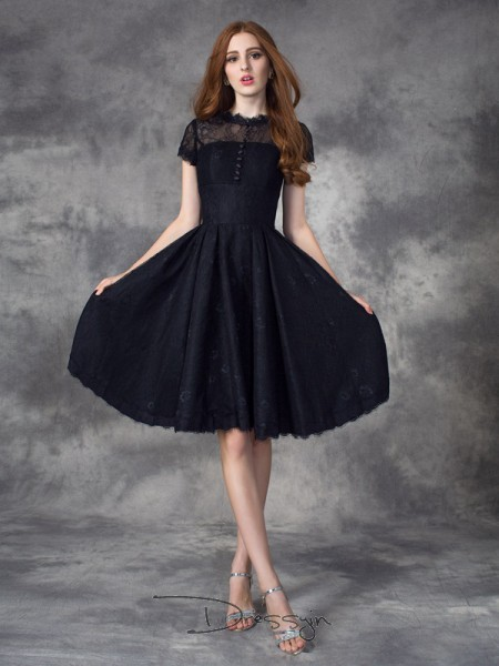A-Line/Princess Short Sleeves Lace Knee-Length Lace Jewel Dresses