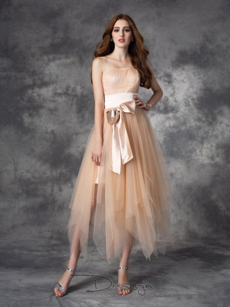 A-Line/Princess Sleeveless Bowknot Ankle-Length Elastic Woven Satin Strapless Dresses
