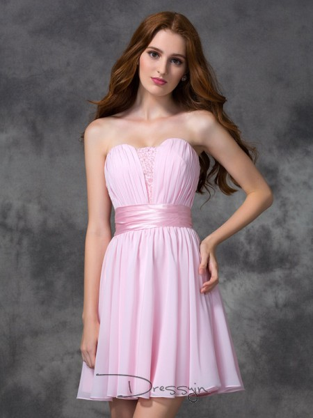 A-Line/Princess Sleeveless Ruched Short/Mini Chiffon Sweetheart Dresses