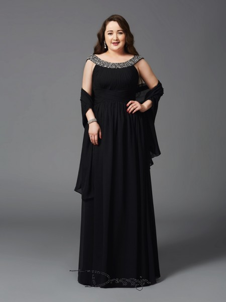 A-Line/Princess Sleeveless Rhinestone Floor-Length Chiffon Scoop Plus Size Dresses