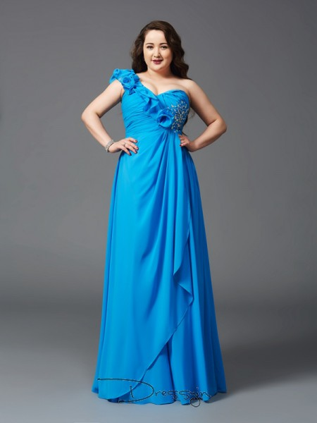 A-Line/Princess Sleeveless Rhinestone Floor-Length Chiffon One-Shoulder Plus Size Dresses