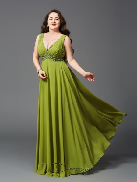 A-Line/Princess Sleeveless Rhinestone Floor-Length Chiffon Straps Plus Size Dresses