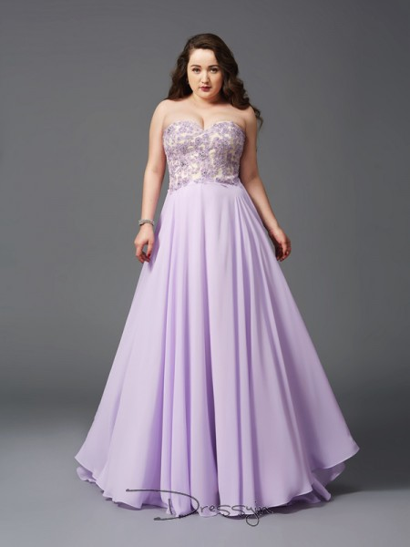 A-Line/Princess Sleeveless Lace Sweep/Brush Train Chiffon Sweetheart Plus Size Dresses