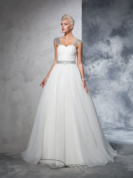 Ball Gown Sleeveless Ruched Chapel Train Net Straps Wedding Dresses