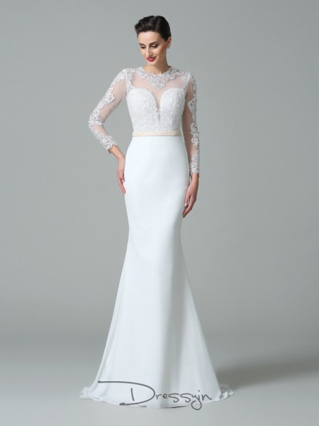 Trumpet/Mermaid Long Sleeves Lace Sweep/Brush Train Satin Jewel Wedding Dresses