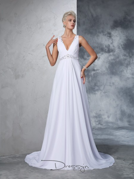 A-Line/Princess Sleeveless Beading Cathedral Train Chiffon V-neck Wedding Dresses