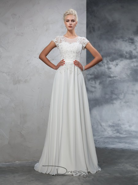 A-Line/Princess Short Sleeves Applique Sweep/Brush Train Chiffon Sheer Neck Wedding Dresses
