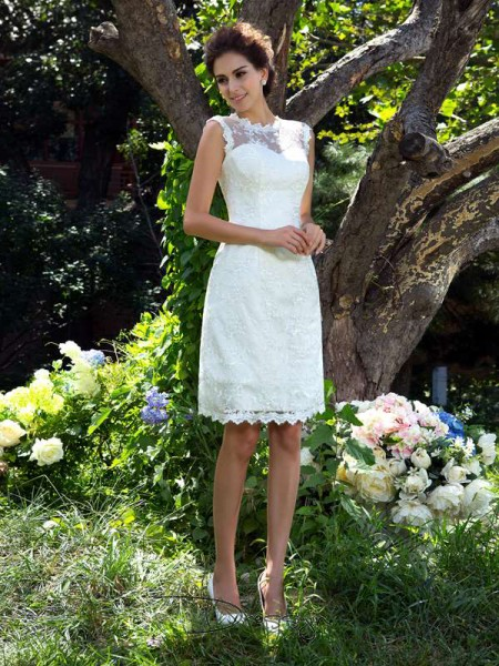 A-Line/Princess Sleeveless Applique Knee-Length Satin Sheer Neck Wedding Dresses