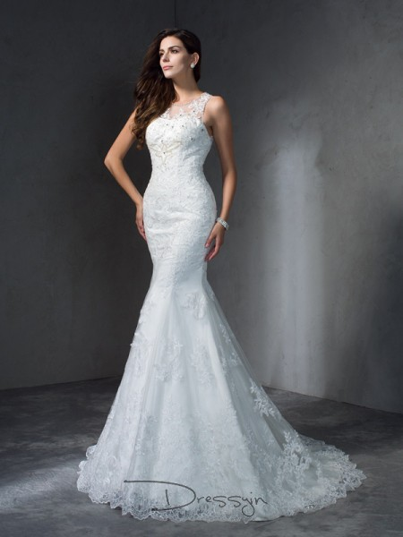 Trumpet/Mermaid Sleeveless Applique Court Train Lace Scoop Wedding Dresses