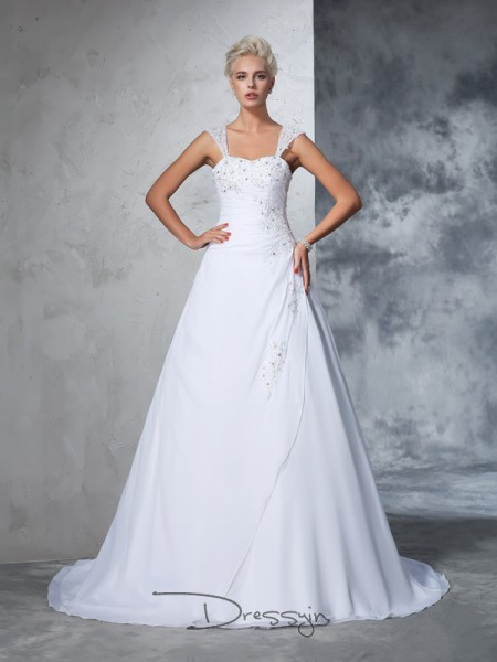 Ball Gown Sleeveless Applique Court Train Chiffon Straps Wedding Dresses