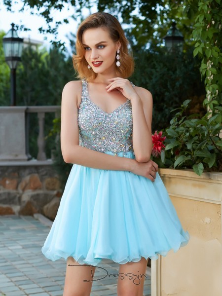 A-Line/Princess Sleeveless Chiffon Rhinestone Short/Mini Straps Dresses