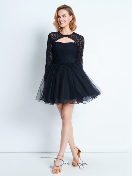 A-Line/Princess Long Sleeves Net Lace Short/Mini High Neck Dresses