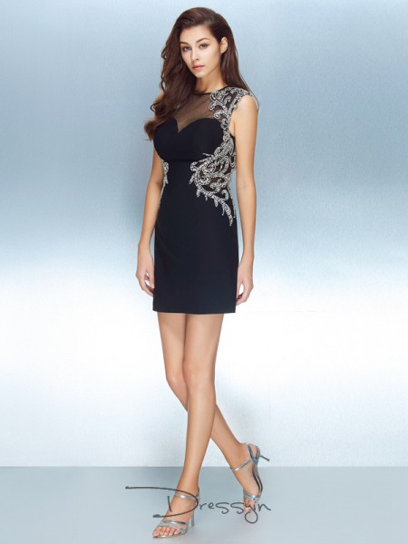 Sheath/Column Short Sleeves Net Crystal Short/Mini Jewel Dresses