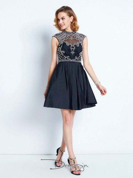 A-Line/Princess Sleeveless Satin Beading Short/Mini High Neck Dresses