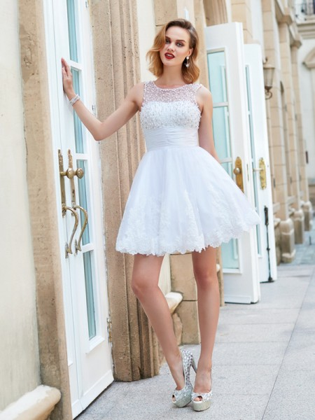 A-Line/Princess Sleeveless Lace Pearls Short/Mini Jewel Dresses