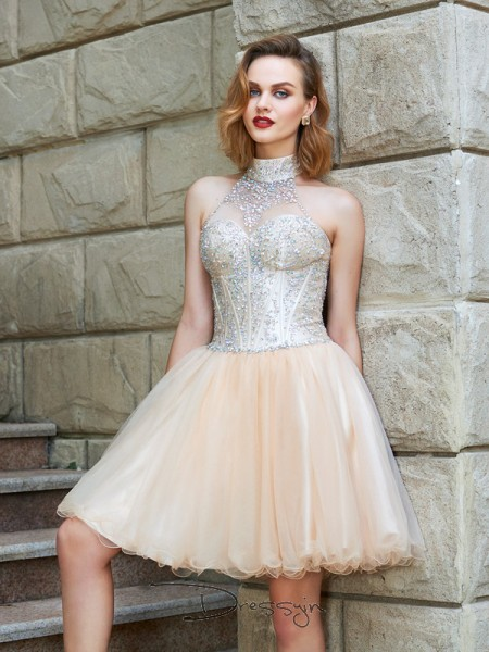 A-Line/Princess Sleeveless Net Beading Short/Mini Halter Dresses