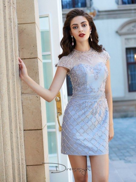 Sheath/Column Short Sleeves Satin Beading Short/Mini Jewel Dresses