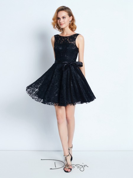 A-Line/Princess Sleeveless Lace Sash/Ribbon/Belt Short/Mini Scoop Dresses