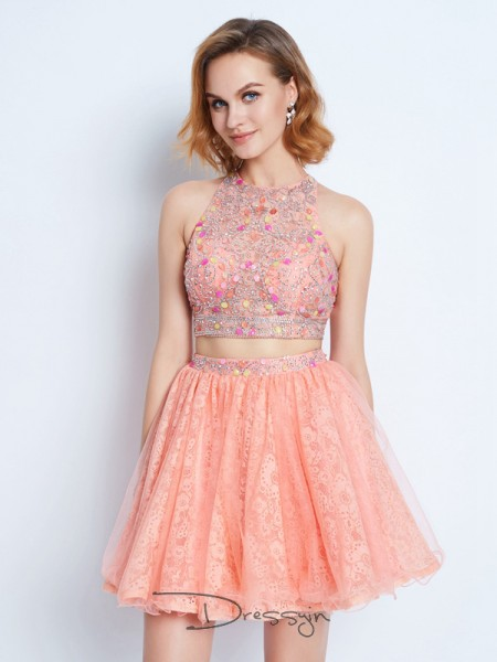 A-Line/Princess Sleeveless Lace Lace Short/Mini Jewel Dresses