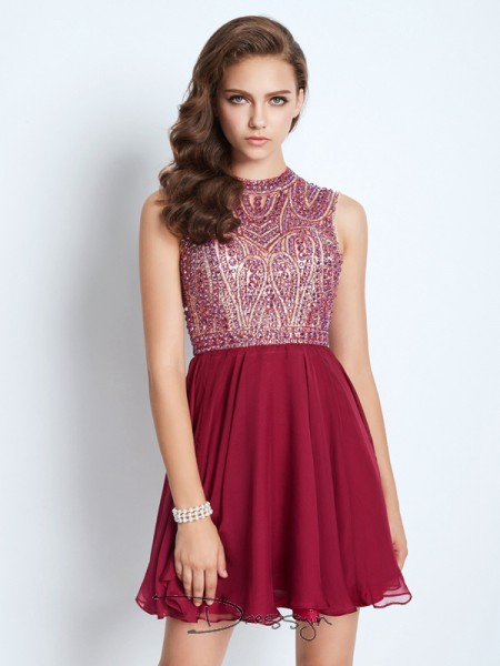 A-Line/Princess Sleeveless Chiffon Beading Short/Mini Jewel Dresses