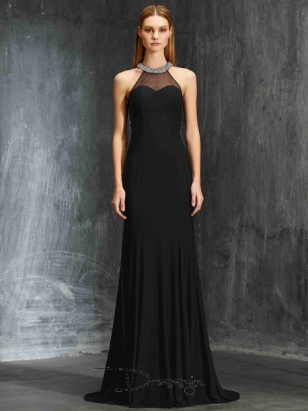 Sheath/Column Sweep/Brush Train Spandex Jewel Beading Sleeveless Dress