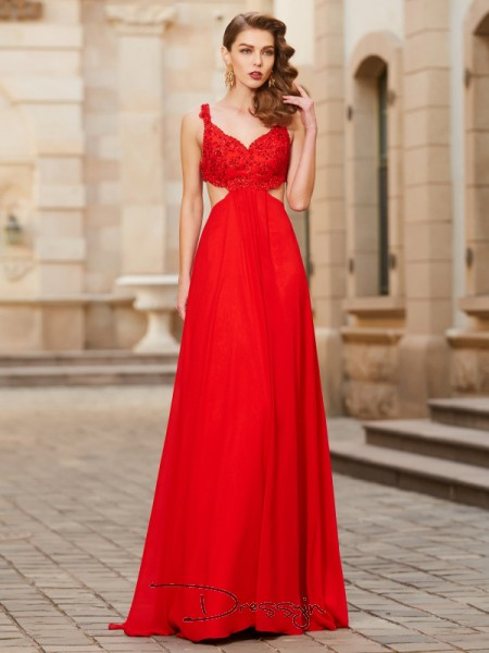A-Line/Princess Floor-Length Chiffon Straps Applique Sleeveless Dress