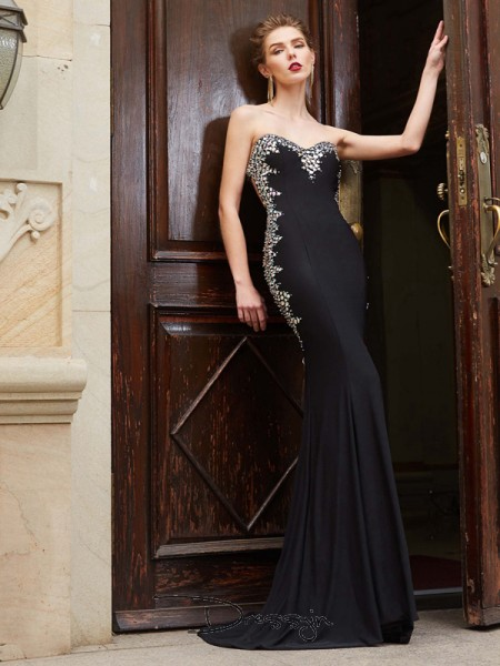 Sheath/Column Sweep/Brush Train Spandex Sweetheart Sequin Sleeveless Dress