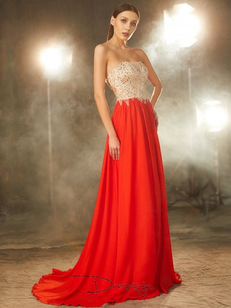 A-Line/Princess Sweep/Brush Train Chiffon Strapless Beading Sleeveless Dress