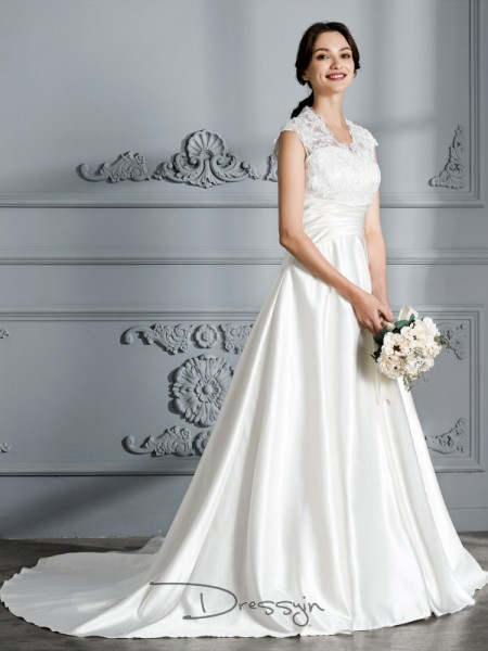 Ball Gown V-neck Satin Sleeveless Court Train Wedding Dress