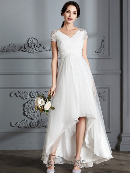 A-Line/Princess V-neck Tulle Short Sleeves Asymmetrical Wedding Dress
