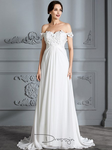 A-Line/Princess Off-the-Shoulder Chiffon Sleeveless Floor-Length Wedding Dress