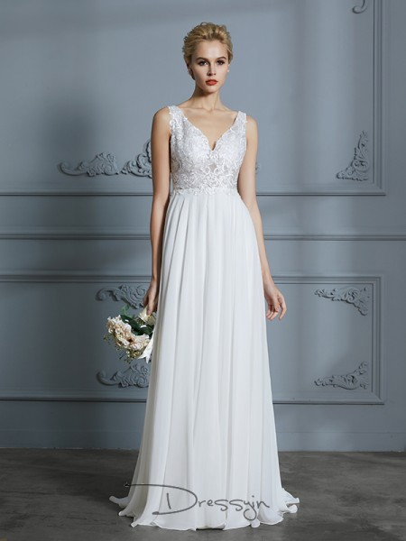A-Line/Princess V-neck Chiffon Sleeveless Lace Sweep/Brush Train Wedding Dress