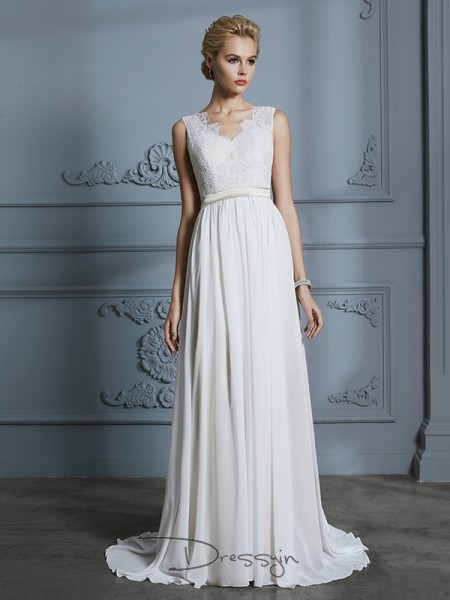 A-Line/Princess V-neck Chiffon Sleeveless Lace Court Train Wedding Dress