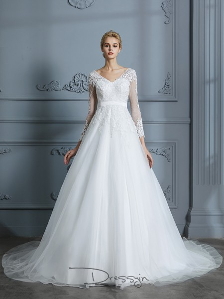 Ball Gown V-neck Tulle Long Sleeves Lace Court Train Wedding Dress