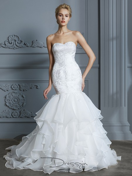 Trumpet/Mermaid Sweetheart Organza Sleeveless Ruffles Sweep/Brush Train Wedding Dress