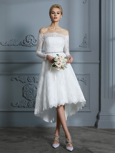 A-Line/Princess Off-the-Shoulder Lace Long Sleeves Lace Asymmetrical Wedding Dress