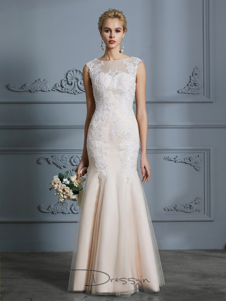Trumpet/Mermaid Scoop Tulle Sleeveless Applique Floor-Length Wedding Dress
