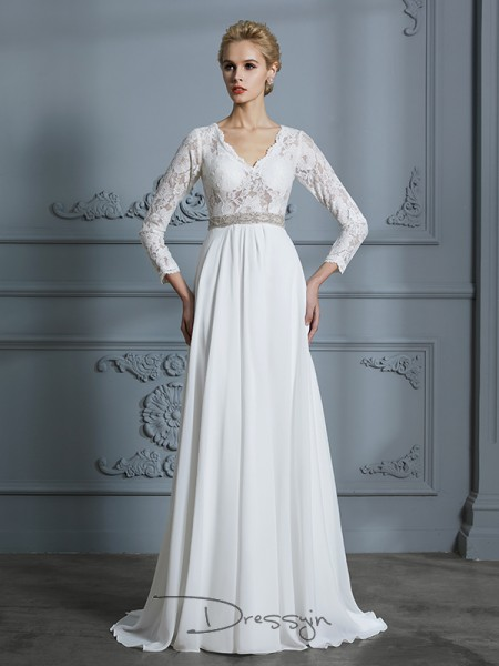 A-Line/Princess V-neck Chiffon 3/4 Sleeves Lace Sweep/Brush Train Wedding Dress