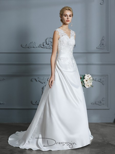 A-Line/Princess V-neck Satin Sleeveless Applique Sweep/Brush Train Wedding Dress