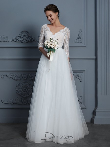 A-Line/Princess V-neck Tulle 3/4 Sleeves Lace Floor-Length Wedding Dress